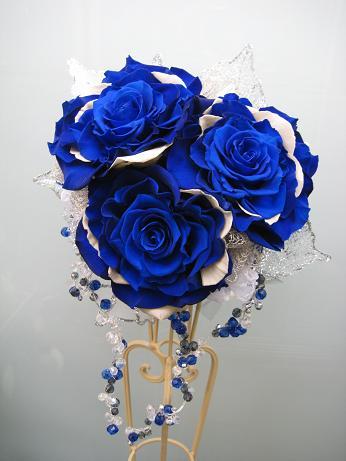 青いバラのブーケ(p-003)